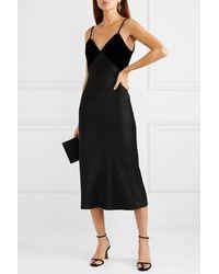 Cushnie - Silk-satin And Velvet Midi Dress - Lyst