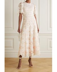 Needle & Thread Lunette Blossom Sequin-embellished Embroidered Tulle Gown - Orange