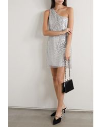 Michelle Mason One-shoulder Sequined Mesh And Silk Mini Dress - Metallic