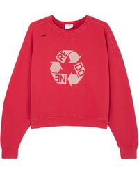 RE/DONE - Cropped Distressed Printed Cotton-jersey Sweatshirt - Lyst