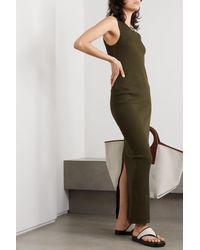 Bassike Ribbed Stretch Organic Cotton-jersey Maxi Dress - Green