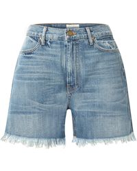 The Great - The Easy Cut Off Frayed Denim Shorts - Lyst
