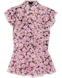 Giambattista Valli - Ruffled Floral-print Silk-georgette Top - Lyst