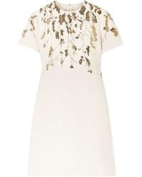 47332a8b05ab Valentino - Embellished Wool And Silk-blend Mini Dress - Lyst