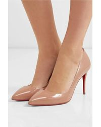 Christian Louboutin Pigalle 85 Patent-leather Pumps - Natural