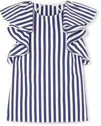 Jason Wu Collection Ruffled Striped Cotton-poplin Top - Blue
