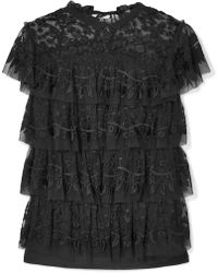 Needle & Thread - Tiered Embroidered Tulle Top - Lyst