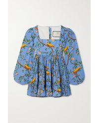 Agua by Agua Bendita Avena Tiered Printed Cotton-poplin Mini Dress - Blue