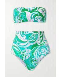 Emilio Pucci + Net Sustain Albizia Bandeau-bikini Aus Recyceltem Material Mit Print - Grün