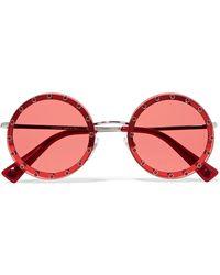 Valentino - Crystal-embellished Round-frame Acetate Sunglasses - Lyst