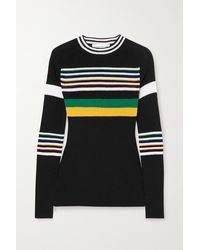 Victoria Beckham Striped Cotton-blend Jumper - Black