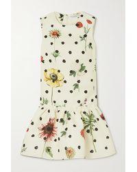 Oscar de la Renta Mini-robe En Faille Imprimée À Volants - Multicolore
