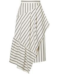 Tibi - Lucci Wrap-effect Striped Twill Midi Skirt - Lyst