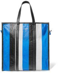 Balenciaga Bazar Medium Striped Textured-leather Tote - Blue