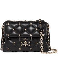 Valentino Valentino Garavani Candystud Medium Quilted Leather Shoulder Bag - Black