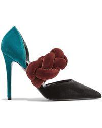 Marco De Vincenzo - Color-block Braided Velvet Pumps - Lyst