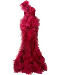 Marchesa - One-shoulder Tulle And Silk-organza Gown - Lyst