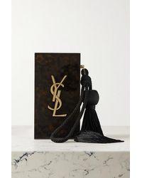 Saint Laurent Clutch Aus Plexiglas® In Hornoptik Mit Troddel - Schwarz