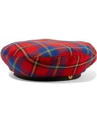 Versace - Leather-trimmed Checked Wool Beret - Lyst