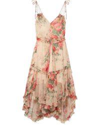 Zimmermann - Floral Midi Dress - Lyst