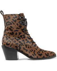 Diane von Furstenberg Dakota Ankle Boots Aus Kalbshaar Mit Leopardenprint Und Schnürung - Braun