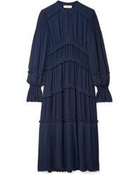 Tory Burch - Stella Ruffled Pleated Chiffon Midi Dress - Lyst