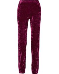 Anna Sui - Starburst Metallic-trimmed Crushed-velvet Track Pants - Lyst