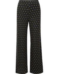 Stine Goya - Magic Mervidelux Metallic Embroidered Polka-dot Knitted Wide-leg Pants - Lyst