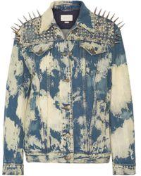 Gucci - Oversized Embellished Bleached Denim Jacket - Lyst