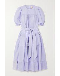 &Daughter + Net Sustain Josephine Pinstriped Organic Cotton-seersucker Dress - Blue