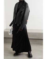 Gucci Oversized Lace-up Painted Leather Biker Jacket - Black