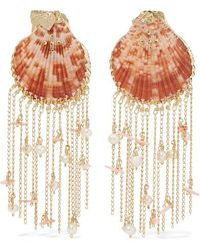 Mercedes Salazar Gold-tone, Resin And Faux Pearl Clip Earrings - Pink