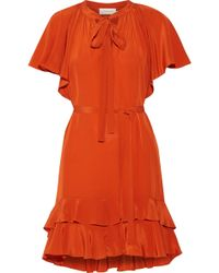 Zimmermann - Flutter Smock Asymmetric Ruffled Silk Crepe De Chine Mini Dress - Lyst