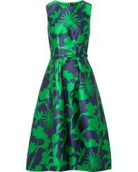 Oscar de la Renta - Belted Floral-jacquard Satin-twill Dress - Lyst