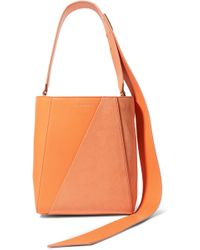 CALVIN KLEIN 205W39NYC Buck Stripe Small Leather And Suede Shoulder Bag - Orange