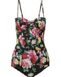 Dolce & Gabbana - Floral-print Balconette Swimsuit - Lyst