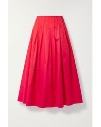 Jason Wu Pintucked Cotton-poplin Midi Skirt - Red