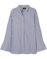 Mother Of Pearl - Faux Pearl-embellished Striped Organic Cotton Shirt - Lyst