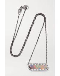 Kimberly Mcdonald 18-karat Blackened White Gold, Opal And Diamond Necklace - Multicolor