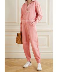 Veronica Beard Preslee Cotton-terry Track Pants - Pink