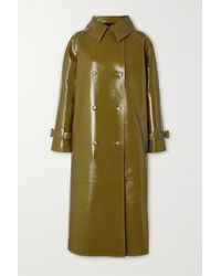 Frankie Shop Oversized Double-breasted Glossed Faux Textured-leather Trench Coat - Green