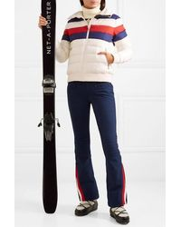 Perfect Moment Queenie Merino Wool-trimmed Striped Quilted Down Ski Jacket - White