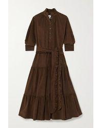 Evi Grintela Phoebe Belted Tiered Cotton-corduroy Midi Dress - Brown