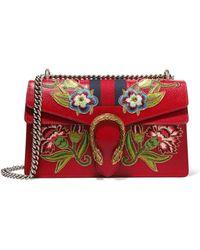 af9f2eabe Gucci - Dionysus Small Appliquéd Textured-leather Shoulder Bag - Lyst