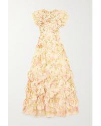 Needle & Thread Genevieve Rose Robe Aus Tüll Mit Blumenprint Und Rüschen - Mehrfarbig