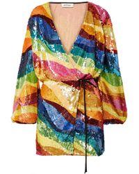 Attico - Sequined Tulle Wrap Mini Dress - Lyst