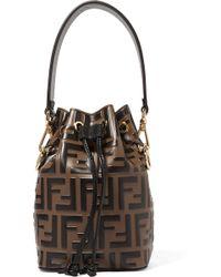 Fendi - Mon Trésor Mini Embossed Leather Bucket Bag - Lyst
