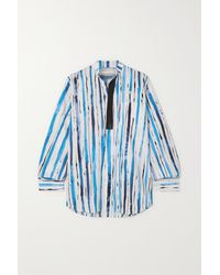 Christopher Kane Faux Leather-trimmed Striped Cotton Shirt - Blue