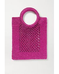 Mizele Sunbath Mini Crochet-knit Lurex Tote - Pink