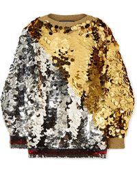Gucci - Embellished Metallic Knitted Sweater - Lyst